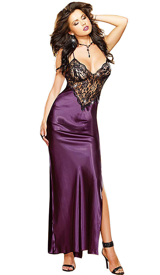 Nightgown - Plum Satin Charmeuse w/Scalloped Lace Bodice by Dreamgirl