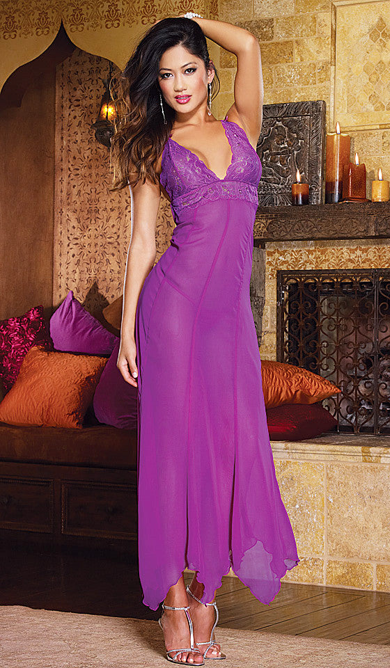 Women's Nightgown - Orchid Sheer Chiffon & Lace Low-Back by Dreamgirl