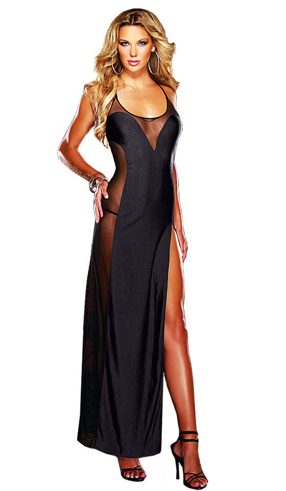 Women's Nightgown - Black Sheer Illusion Microfiber & Mesh Low-Back by Dreamgirl