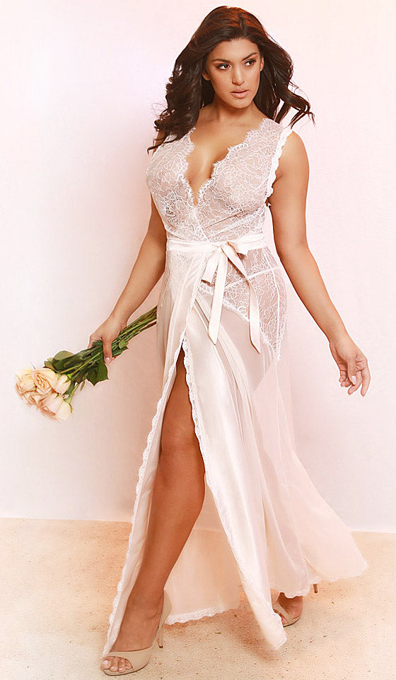 """Nicolette"" Peach Bridal Tie-Front Wrap Nightgown/Duster w/Eyelash Lace (Small-4X)"