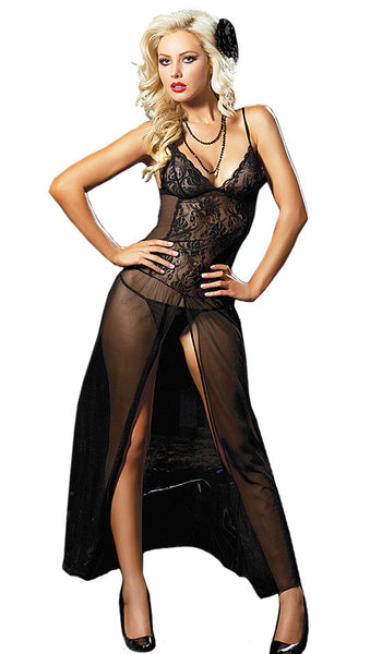Women's Nightgown - Moonlight Magic Black Sheer Lace & Mesh by Seven til' Midnight