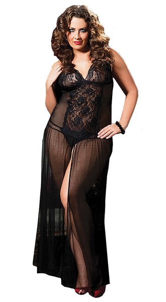 Women's Nightgown - Moonlight Magic Black Sheer Lace & Mesh by Seven til' Midnight - view 2