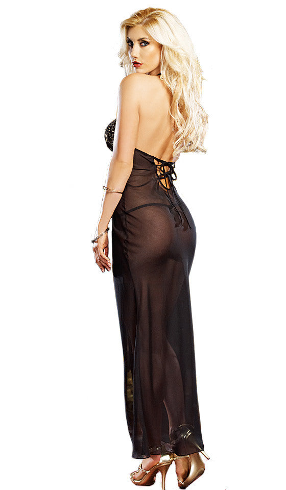 Women's Nightgown - Mystic Gold Studded Black Sheer Chiffon by Dreamgirl