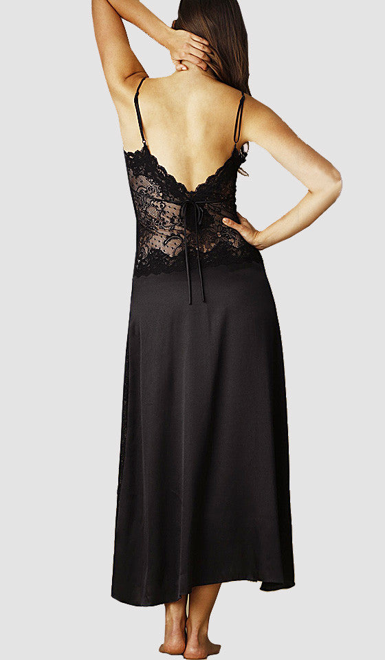 Women's Nightgown - Textured Black Persian Lace & Charmeuse by In-Bloom by Jonquil