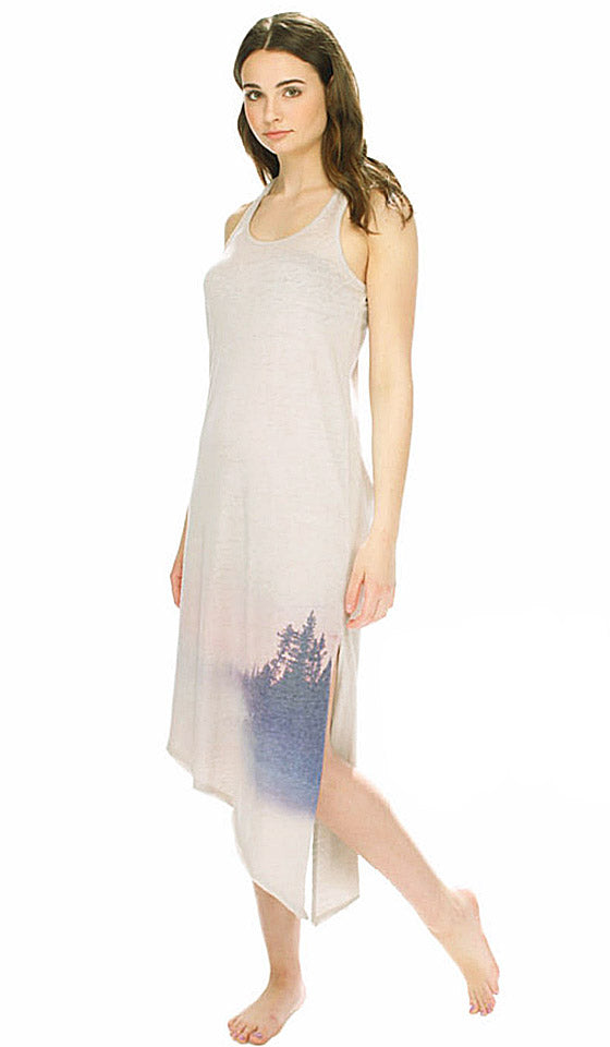 "Nightgown - ""Forest Landscape"" Burnout Beige Heather Jersey Racerback Gown"