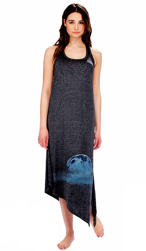 "Nightgown - ""Starry Landscape"" Burnout Heather Charcoal Gray Jersey Racerback Gown"