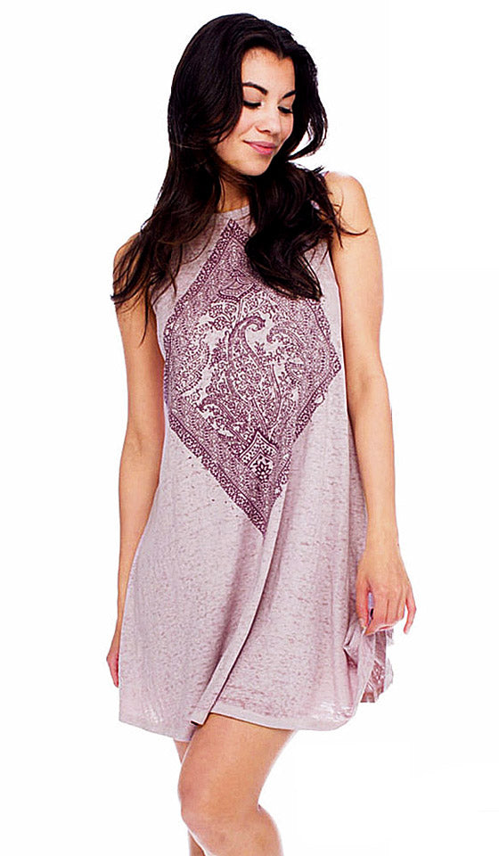 Women's Nightgown - Burgundy Paisley Panel Cotton/Poly Jersey Tank Gown by Retrospective