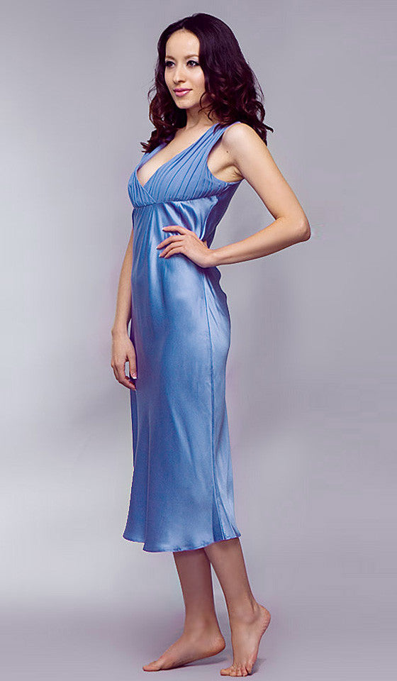 Women's Nightgown - Periwinkle Blue Silk Charmeuse & Pleated Chiffon