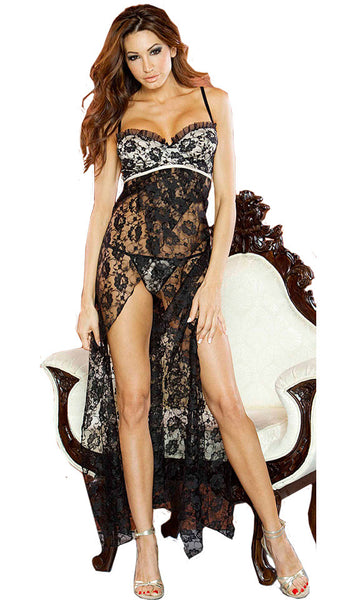 Women's Nightgown - Nude Affair Sheer Black Lace by Fantasy Lingerie