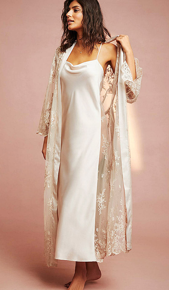 Women s Darling bridal satin charmeuse and lace peignoir set nightgown and  lace robe - champagne ... 20c49e57f