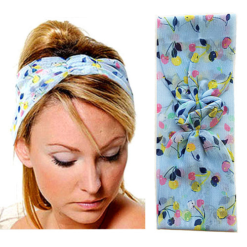Spa Hairbands - Women's Stretch Printed Sheer Georgette in Sky Blue Cherries