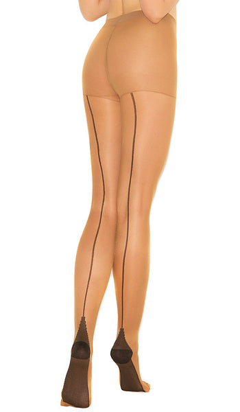 Women's Stockings - Pantyhose - Nude Cuban Heel w/Back Seam
