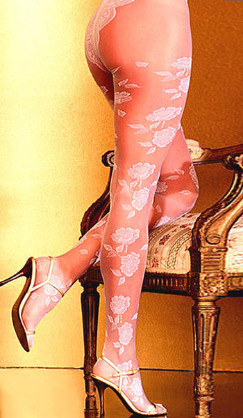Women's Stockings - Pantyhose - Bridal White Rose Print