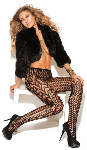 Women's Stockings - Pantyhose - Black Jacquard Feather Design