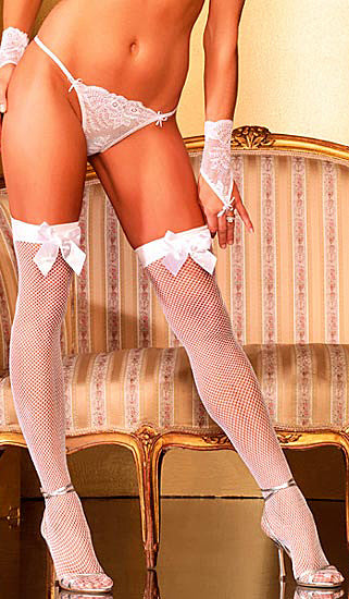 White bridal fishnet stockings with satin bow tie