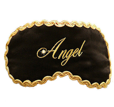 "Black Silk Satin Sleep Mask ""Angel"""