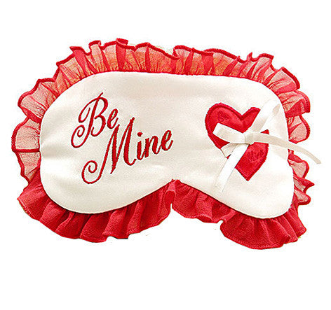 "White and Red Silk Satin Sleep Mask ""Be Mine"""