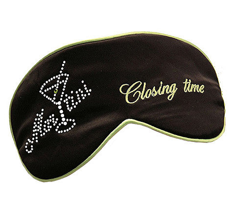 "Black Silk Satin Sleep Mask ""Closing Time"""