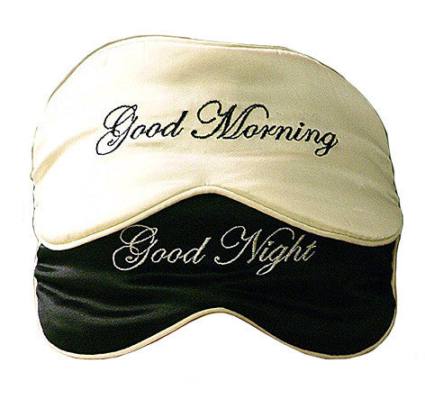 "Silk Satin Reversible Black and Ivory Sleep Mask ""Good Morning/Good Night"""
