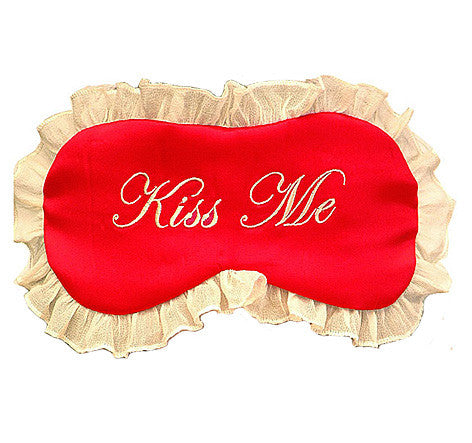 "Red Silk Satin ""Kiss Me"" Sleep Mask"