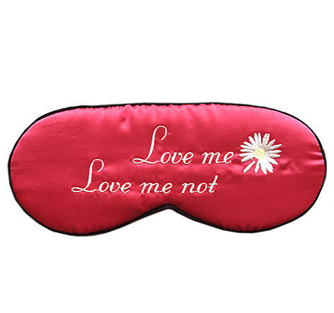 "Red Silk Satin Sleep Mask ""Love Me, Love Me Not"""