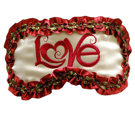 "White Silk Satin Sleep Mask ""LOVE"""