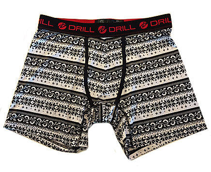 Men's Black and White Print Drill Fair Isle Poly-Spandex Boxer Briefs