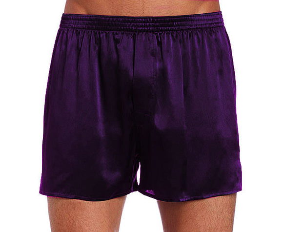 Men's Black Silk Satin Boxer Shorts with Fly Front