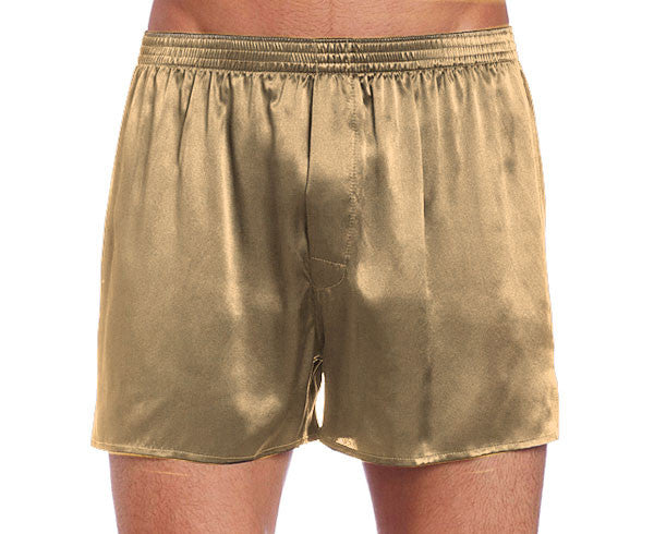Men's pewter silk satin boxer shorts