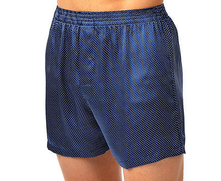 Men's Cypress Silk Navy Pin-Dot Boxer Shorts by Majestic International