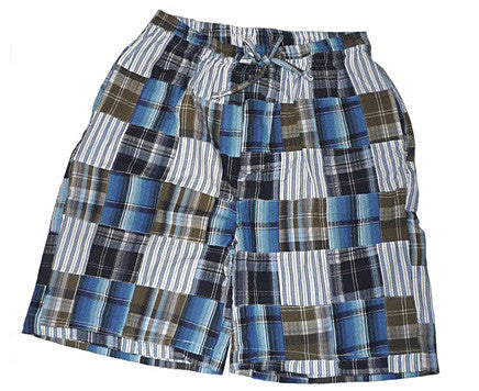 Men's Blue Cotton Patchwork Shorts by Majestic International