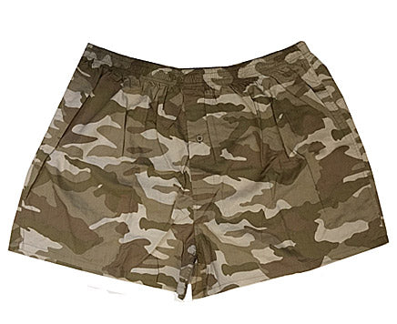 Men's Boxer Shorts - Cotton Camouflage Print - Green/Navy