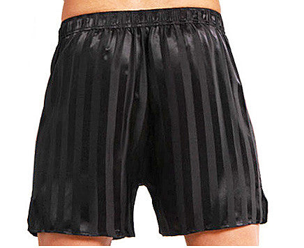 Men's Silk Jacquard Black Stripe Boxer Shorts
