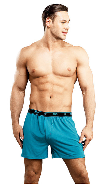 Men's Teal Bamboo Knit Boxer Shorts by Male Power - view 2