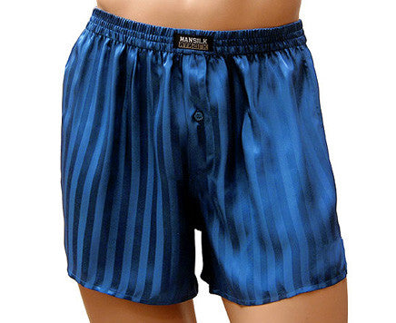 Men's Blue Silk Stripe Jacquard Charmeuse Boxer Shorts