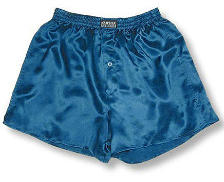 Men's Silk Charmeuse Boxer Shorts by Mansilk - Cornflower Blue