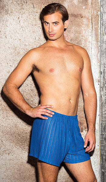 Men's blue sheer poly knit boxer shorts by Gyz - view 2