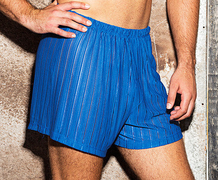 Men's blue sheer poly knit boxer shorts by Gyz