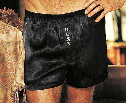 "Men's Black Poly Charmeuse Boxer Shorts with ""Sexy"" printed fly by Gyz"