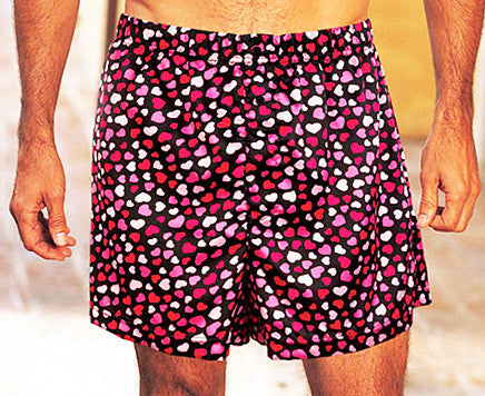 Men's Valentine Hearts Poly Charmeuse Boxer Shorts by Gyz