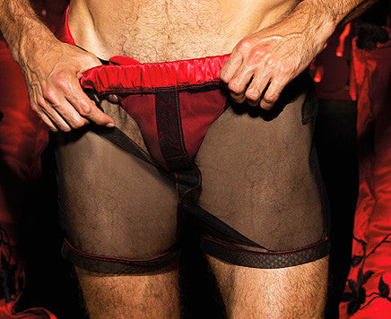 Men's black sheer mesh boxer shorts with red satin trim by Gyz