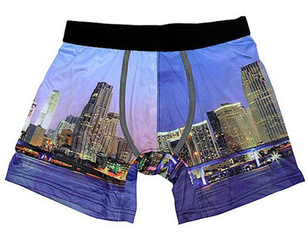 Men's Downtown Poly Spandex Boxer Briefs - Miami View
