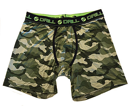 Men's Drill Green Camouflage Print Poly-Spandex Boxer Briefs