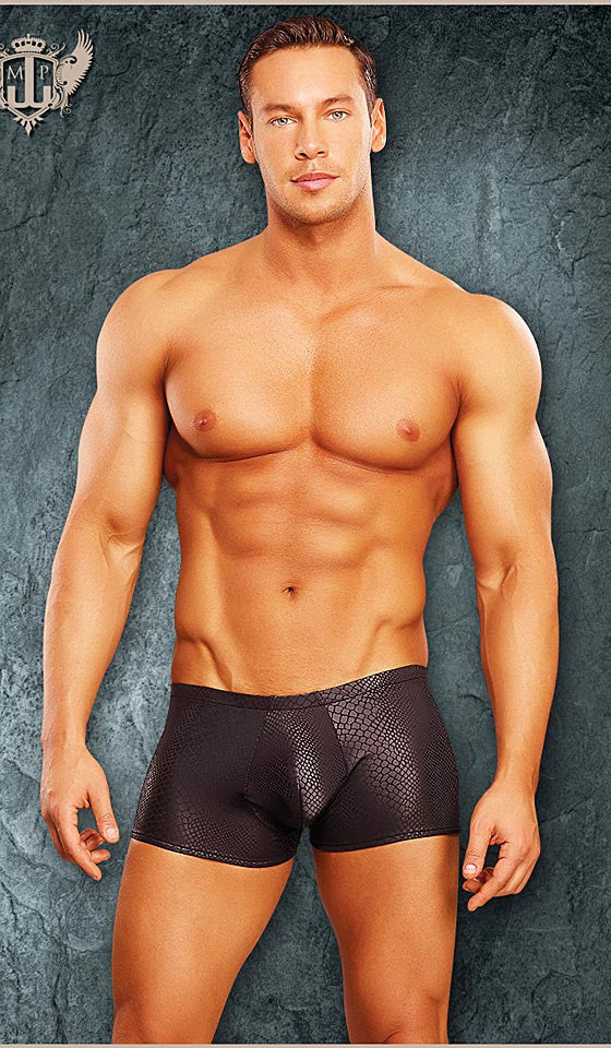 Men's Black Cobra Patterned Mini-Pouch Briefs by Male Power