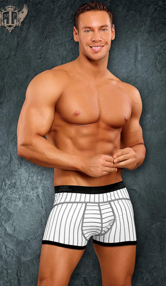 Men's Low Rise Panel Boxer Briefs in White with Gray Stripes by Male Power