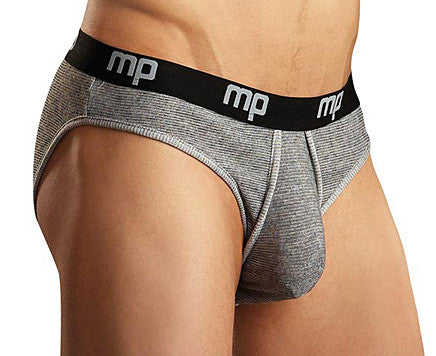 Men's Heather Rib Lo Rise Bikini Briefs by Male Power