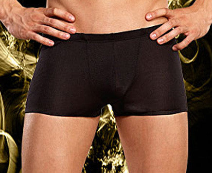 Men's black silk knit lo-rise boxer briefs by Male Power