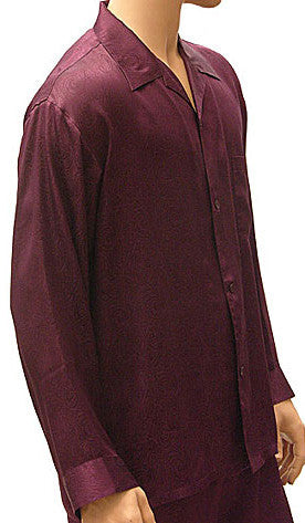 Men's Silk Jacquard Paisley Pajamas in Port Wine by ManSilk - view 2