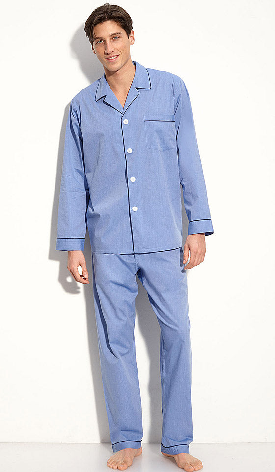 Men's Sand Cotton Herringbone Signature Pajamas by Majestic International