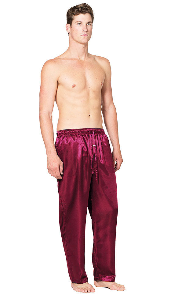 Men's Lounge Pants - Navy Poly Satin Charmeuse with Elastic Drawstring Waist